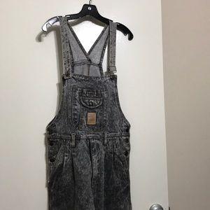 Vintage 1980s acid wash denim overalls Black